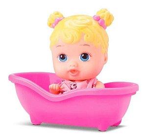 Baby Boneca Menina Loira Little Dolls Alive Banheira - Divertoys