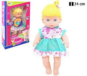 Boneca Sapekinha Hair Frases Loira com Vestido Verde - Milk brinquedos