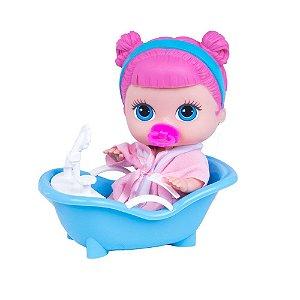 Boneca com Acessórios Cabelo Rosa - Cotiplas