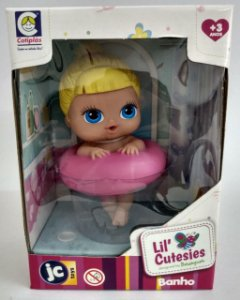 Boneca Lil Cutesies banho loira Boia Rosa - Cotiplás
