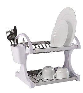 Escorredor Para 12 Pratos Branco Aço Inox - Brinox