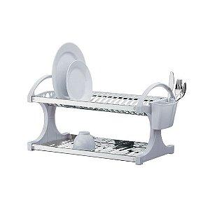 Escorredor de Louça Duplo Brinox Suprema Branco em Aço Inox Para 16 Pratos - Brinox