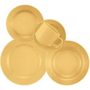 Aparelho de Jantar e Chá 20 Peças Cerâmica Donna Amarelo - Biona