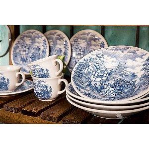 Aparelho de Jantar e Chá 20 Peças Cena Inglesa em Cerâmica Branco/Azul - Biona