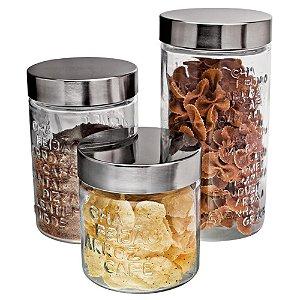 Conjunto de Potes Euro Home Sabores em Vidro e Inox – 3 Peças