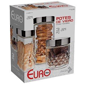 Conjunto de Potes Euro Home Losangos em Vidro e Inox – 3 Peças.