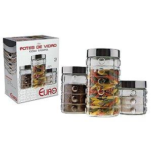 Conjunto de Potes Euro Home Bolas em Vidro e Inox 3 Peças