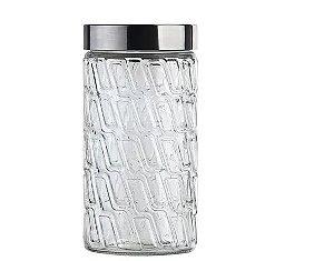 Pote de Vidro Mosaico com Tampa de Inox 2,0 Litros Euro Home