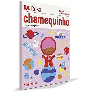 Papel sulfite A4 Rosa - 210x297 - com 100 folhas - Chamequinho