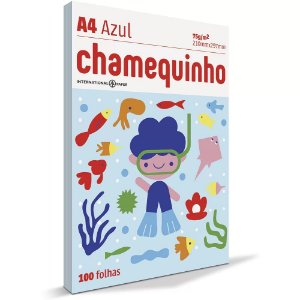 Papel sulfite A4 Azul  210x297 - com 100 folhas - Chamequinho