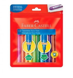 Caneta hidrográfica ponta Vai e Vem com 12 cores - Faber-Castell