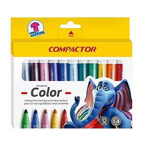 Caneta Hidrográfica c/12 cores - Compactor Color