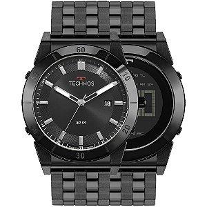Relógio Technos Masculino 2x1 360° Curvas Preto 1S13CR/4P