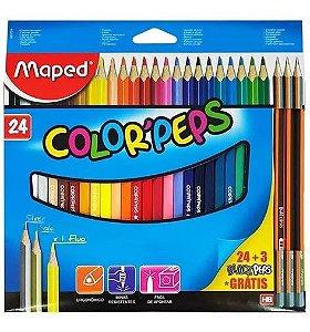 Lapis De Cor 24 Cores Colorpeps Maped +3 Lápis De Brinde