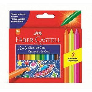 Giz De Cera 12 Cores + 3 Cores Neon - Faber Castell