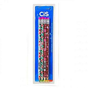 Lápis preto flores blister com 4 unidades sortidas - cis