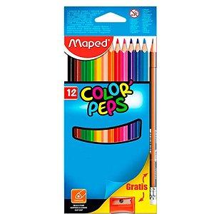 Lápis de Cor Triangular 12 cores Color Peps Maped +1 Apontador + 1 Lápis Hb