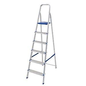 Escada Mor em Alumínio com 6 Degraus e Fita de Segurança