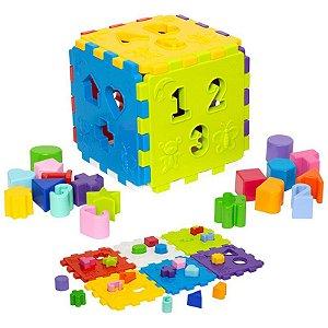 Cubo Didático com 18 peças de Encaixe - Mercotoys