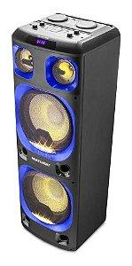 Caixa de Som Torre Double 12 Pol. Multilaser 2000w Btauxsdusbfm Led Sp343