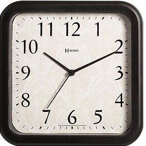 Relógio Parede 23cm Silencioso Preto Quadrado Herweg