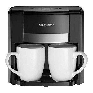Cafeteira elétrica 127v 500w 2 xícaras colher dosadora filtro permanente preta - Multilaser