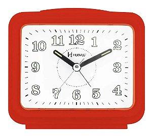 Despertador Herweg Quadrado Quartz Vermelho