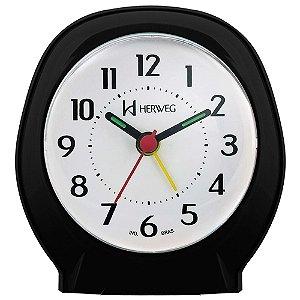 Relógio Despertador Quartz Tradicional Herweg preto