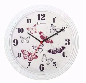 Relógio Parede Branco 30cm Tictac Borboletas Herweg