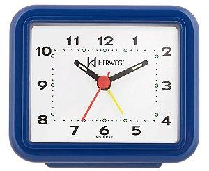 Relógio Despertador Pilha Azul Escuro Alarme Forte Herweg