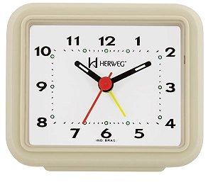Relógio Despertador Pilha Marfim Alarme Forte Herweg