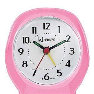 Relógio Despertador Quartz Tradicional Herweg Rosa