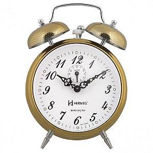 Relógio Despertador Mecânico Clássico Herweg 2380