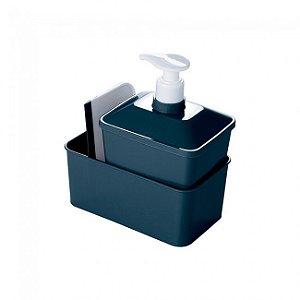 Kit Porta Detergente Qquadrado  Plasutil Azul Intenso