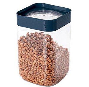 Pote de Plástico Quadrado 2L para Farinha Tampa Rosca Plug Direcionado
