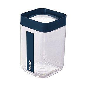 Pote de Plástico Quadrado 2 L para Feijão Tampa Rosca Plug Direcionado