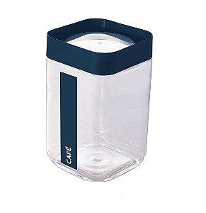 Pote de Plástico Quadrado 2 L para Café Tampa Rosca Plug Direcionado - Azul
