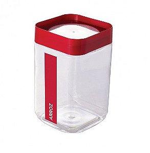 Pote de Plástico Quadrado 2 L para Arroz Tampa Rosca Plug Direcionado - Vermelho