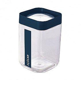 Pote de Plástico Quadrado 2 L para Açúcar Tampa Rosca Plug Direcionado