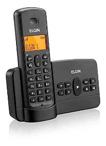 Telefone sem Fio Elgin com Identificador de Chamadas Secretária Eletrônica Viva Voz Preto