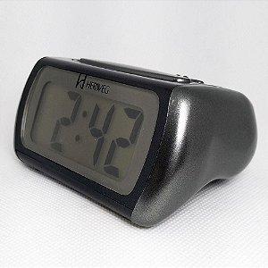 Relógio Despertador Digital Preto Com Luz Noturna - Herweg