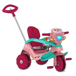 Carrinho de Passeio e Triciclo Bandeirante com 3 Rodas Velobaby Rosa