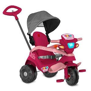 Triciclo Velobaby com Capota Passeio e Pedal Pink Bandeirantes
