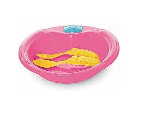 Conjunto De Alimentação Ursinho 3 Peças Rosa Pop - Adoleta Bebê