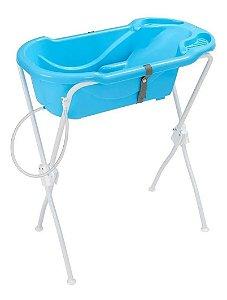Banheira Ergonômica Com Suporte Banho Bebe Tutti Baby Azul