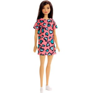 Boneca Barbie Fashion Morena com Vestido Rosa de Corações Mattel - GHW46