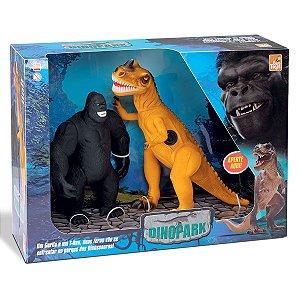 Kit Dinossauro T - Rex Com Som + King Kong Bee Toys