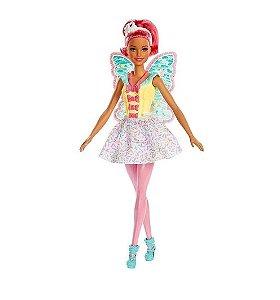 Boneca Barbie Dreamtopia Fada Cabelo Rosa - Mattel FXT03