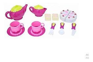 Brinquedo Cozinha Infantil Kit Chá Bolo Rosa Bbr Toys