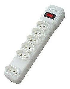 Protetor Eletronico 6 Tomadas Branco Bright